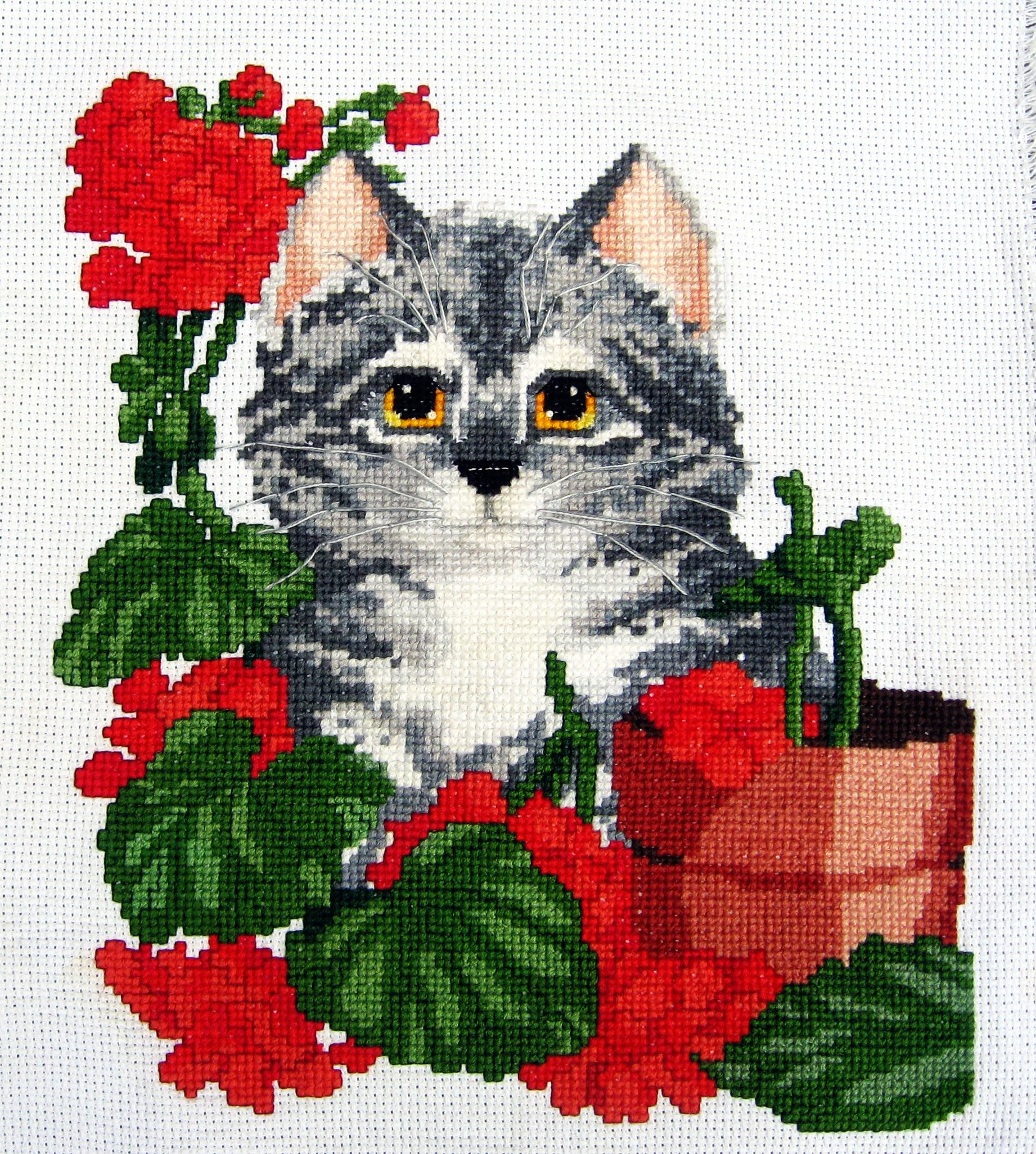 Cat w/Geraniums Cross Stitch