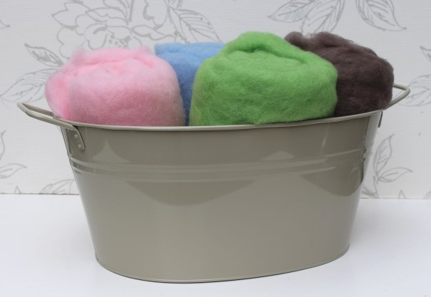 Pink and Leaf Green in Grey Tub