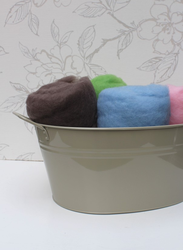 Pewter and Blue Wool Fluff in Grey Tub